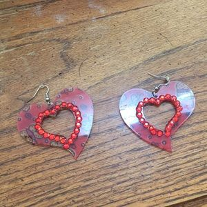 Jeweled heart earrings, unique piece!